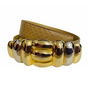 Vtg 90s Snakeskin Belt Heavy Gold Silver Buckle M